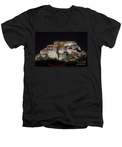 Potala Palace At Night Men's V-Neck T-Shirt