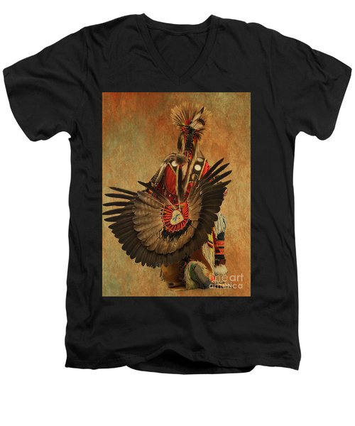 Men's V-Neck T-Shirt featuring the mixed media Pow Wow 2 by Jim  Hatch