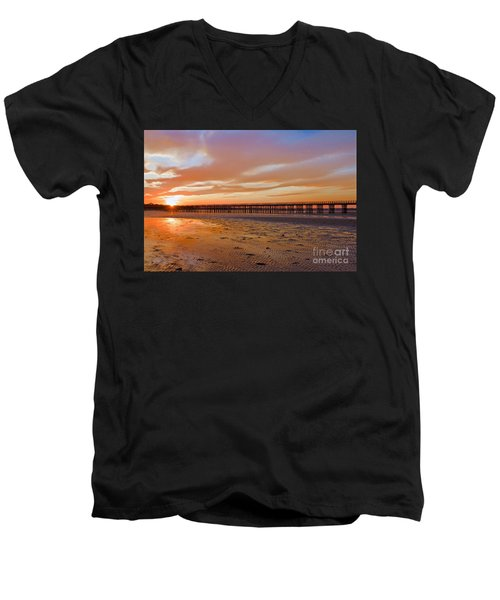 Powder Point Bridge Duxbury Men's V-Neck T-Shirt by Amazing Jules