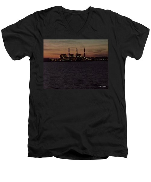Men's V-Neck T-Shirt featuring the photograph Power In The Dark by Betty Northcutt