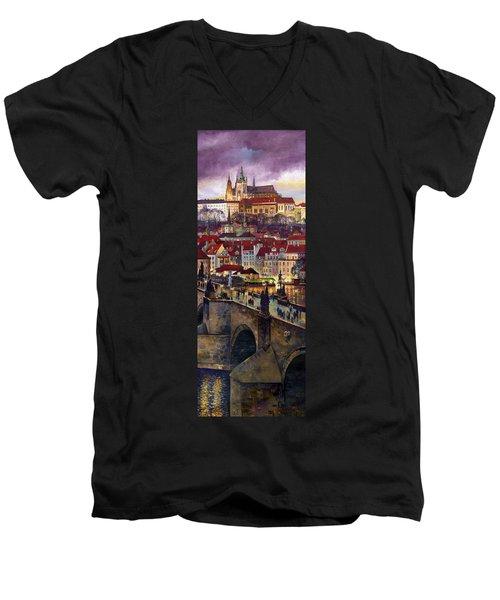 Prague Charles Bridge With The Prague Castle Men's V-Neck T-Shirt