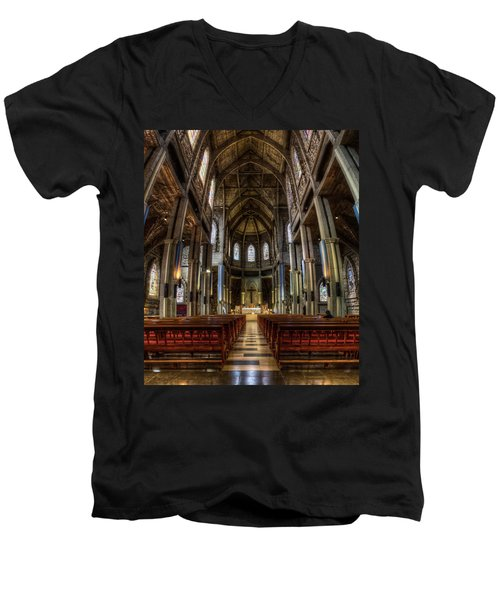 Our Lady Of Nahuel Huapi Cathedral In The Argentine Patagonia Men's V-Neck T-Shirt