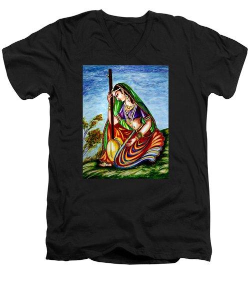 Krishna - Prayer Men's V-Neck T-Shirt by Harsh Malik