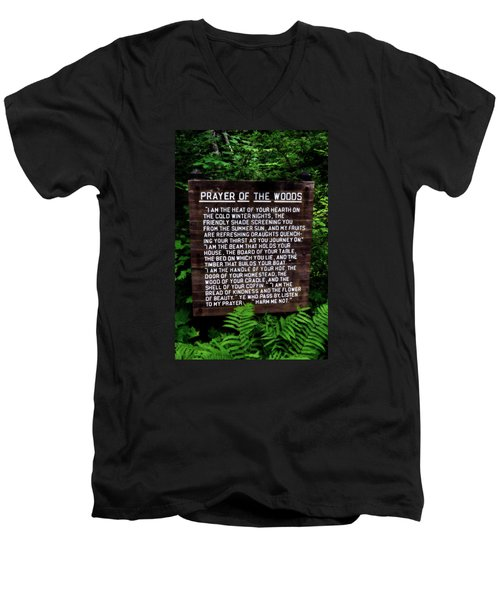 Prayer Of The Woods Men's V-Neck T-Shirt by Michelle Calkins