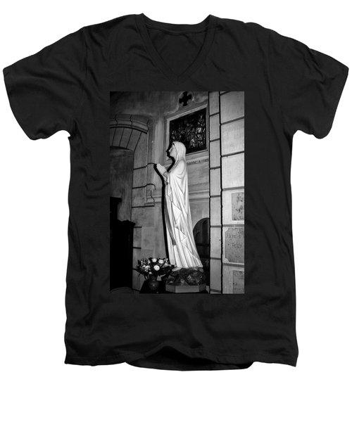 Men's V-Neck T-Shirt featuring the photograph Praying Nun 2 by Elf Evans