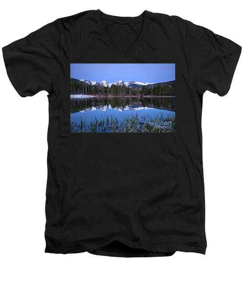 Pre Dawn Image Of The Continental Divide And A Sprague Lake Refl Men's V-Neck T-Shirt