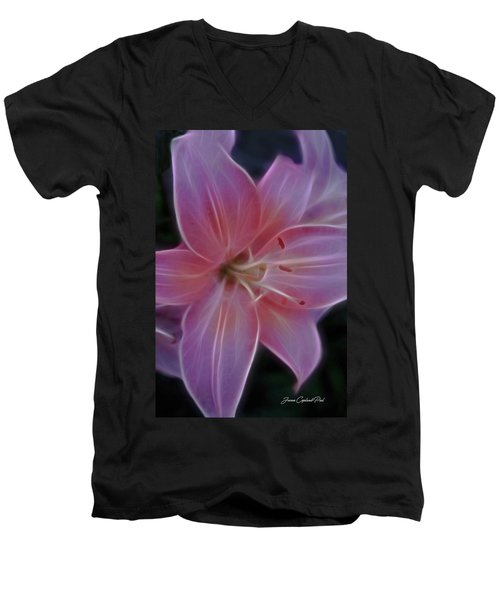 Precious Pink Lily Men's V-Neck T-Shirt by Joann Copeland-Paul