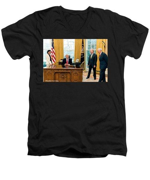 President Donald Trump Men's V-Neck T-Shirt by Charles Shoup