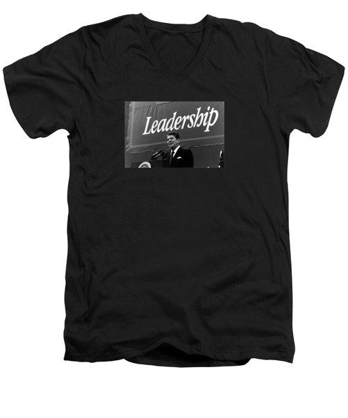 President Ronald Reagan Leadership Photo Men's V-Neck T-Shirt