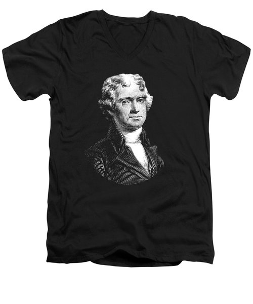 President Thomas Jefferson - Black And White Men's V-Neck T-Shirt