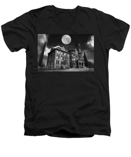 Men's V-Neck T-Shirt featuring the digital art Preston Castle by Holly Ethan