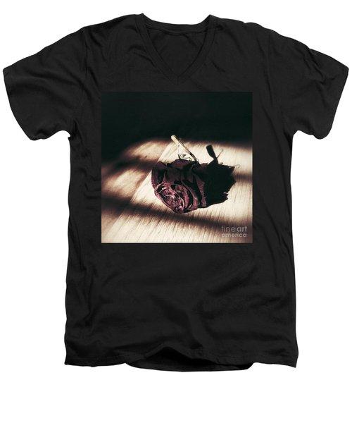 Pretty Dead Rose Resting In The Warm Sun Men's V-Neck T-Shirt