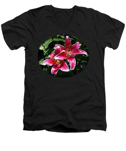 Pretty Lilies Men's V-Neck T-Shirt by Nick Kloepping