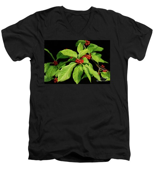 Men's V-Neck T-Shirt featuring the photograph Pretty Little Red Berries by Lois Bryan