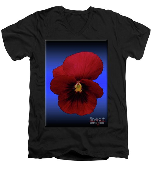 Men's V-Neck T-Shirt featuring the photograph Pretty Pansy by Donna Brown