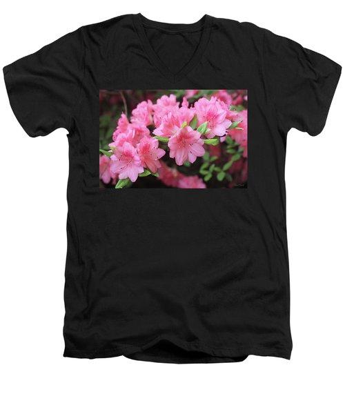 Pretty Pink Azalea Blossoms Men's V-Neck T-Shirt