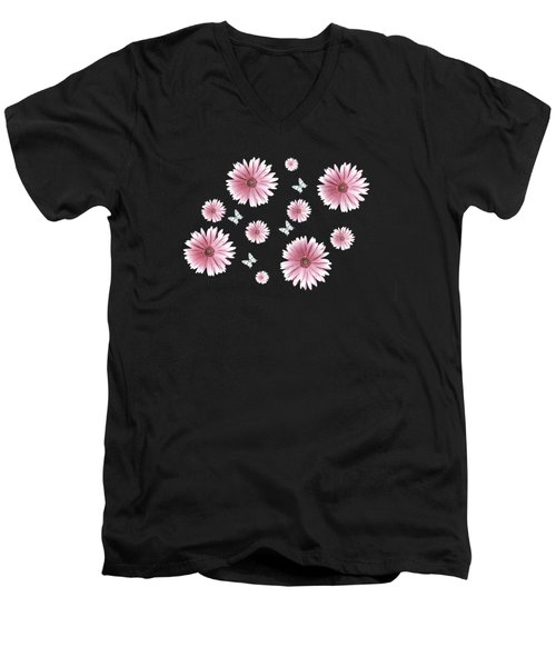 Pretty Pink Flowers On Black Men's V-Neck T-Shirt