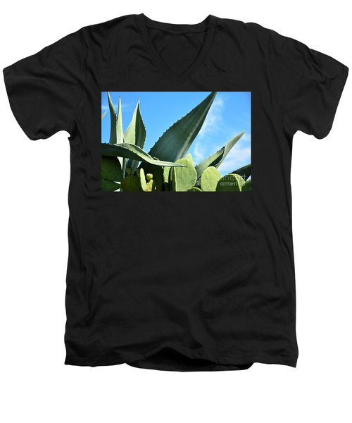 Men's V-Neck T-Shirt featuring the photograph Prickly Pear Cactus And Century Plant by Ray Shrewsberry