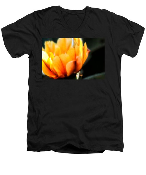 Men's V-Neck T-Shirt featuring the photograph Prickly Pear Flower by Lynn Geoffroy