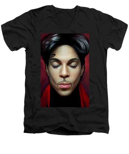 Men's V-Neck T-Shirt featuring the painting Prince Artwork 2 by Sheraz A