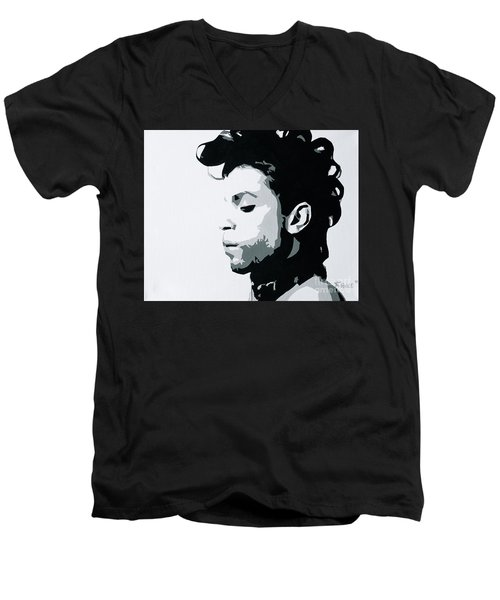 Men's V-Neck T-Shirt featuring the painting Prince by Ashley Price