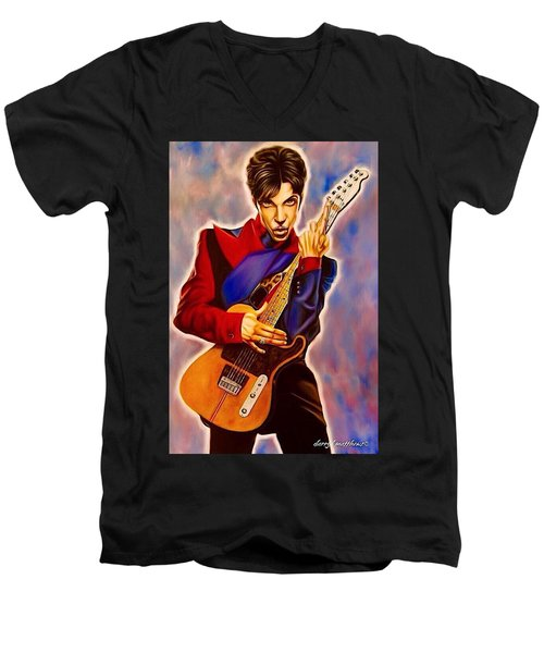 Prince Men's V-Neck T-Shirt by Darryl Matthews