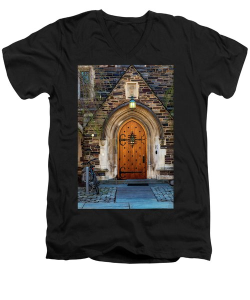 Men's V-Neck T-Shirt featuring the photograph Princeton University Henry Hall by Susan Candelario