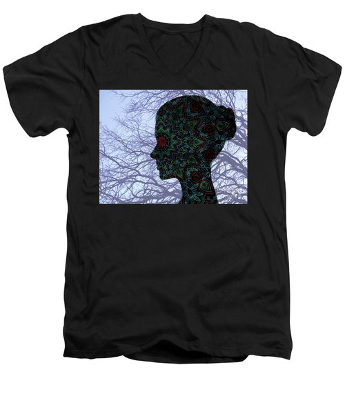 Profile Portrait Of Young Beautiful Woman. Men's V-Neck T-Shirt