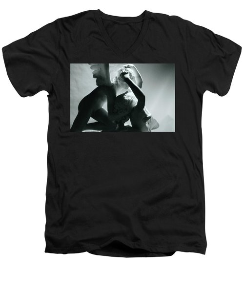 Psyche Revived By The Kiss Of Cupid Men's V-Neck T-Shirt by Antonio Canova