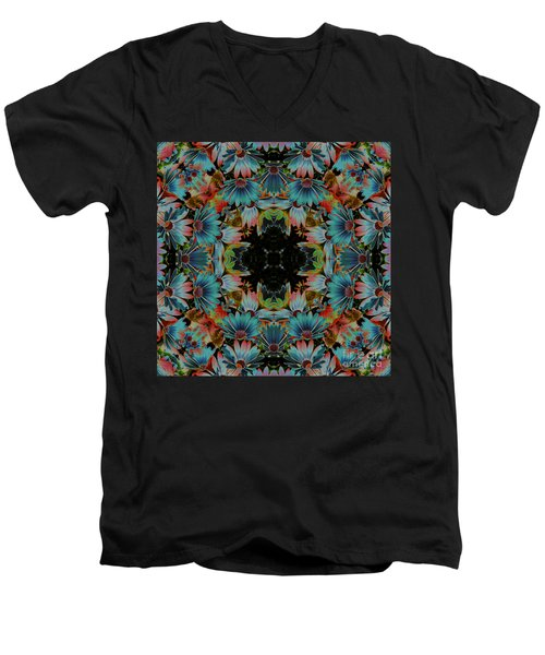Men's V-Neck T-Shirt featuring the digital art Psychedelic Daisies by Smilin Eyes  Treasures