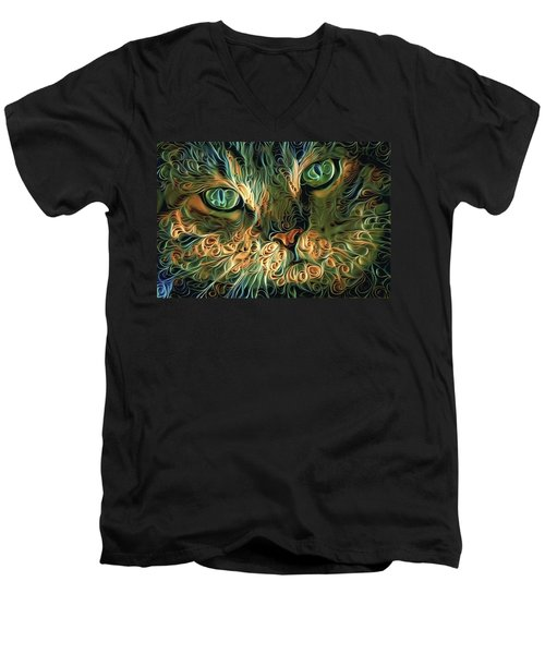 Psychedelic Tabby Cat Art Men's V-Neck T-Shirt
