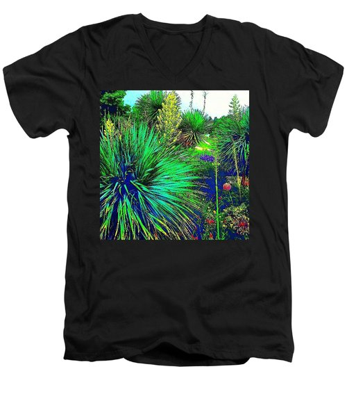 Psychedelic Yuccas. #plant #yucca Men's V-Neck T-Shirt
