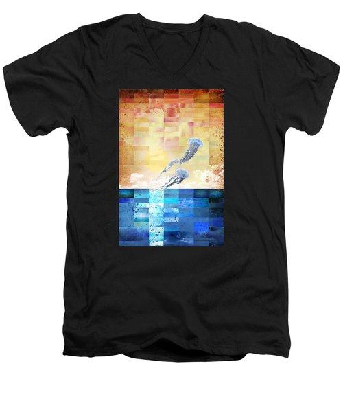 Psychotropic Rhythms Men's V-Neck T-Shirt by Christina Lihani