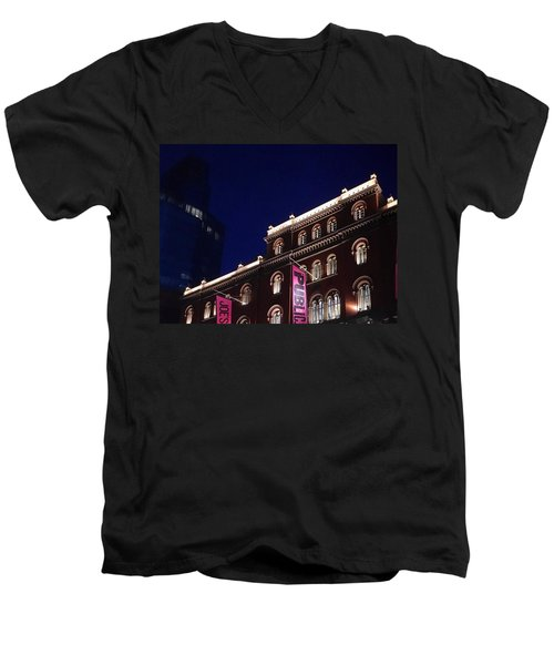 Public Theater Nyc  Men's V-Neck T-Shirt by Sandy Taylor