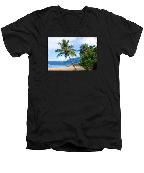 Phuket Patong Beach Men's V-Neck T-Shirt by Mark Ashkenazi
