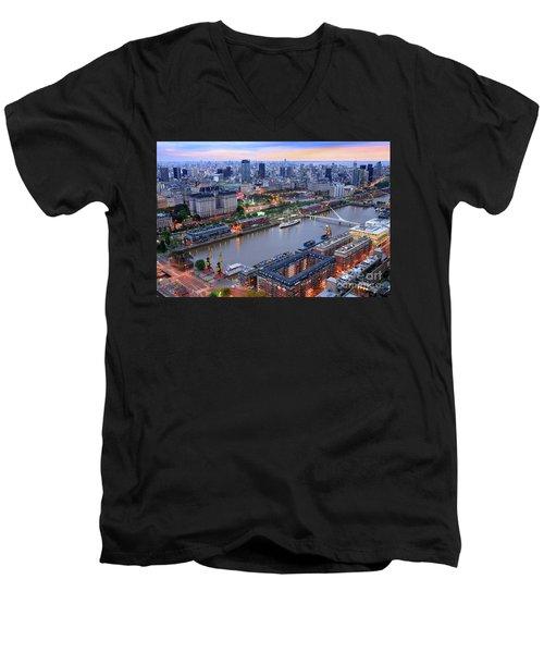 Puerto Madero Pier 3 Men's V-Neck T-Shirt by Bernardo Galmarini