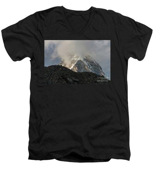 Men's V-Neck T-Shirt featuring the photograph Pumori Dusk Light by Mike Reid