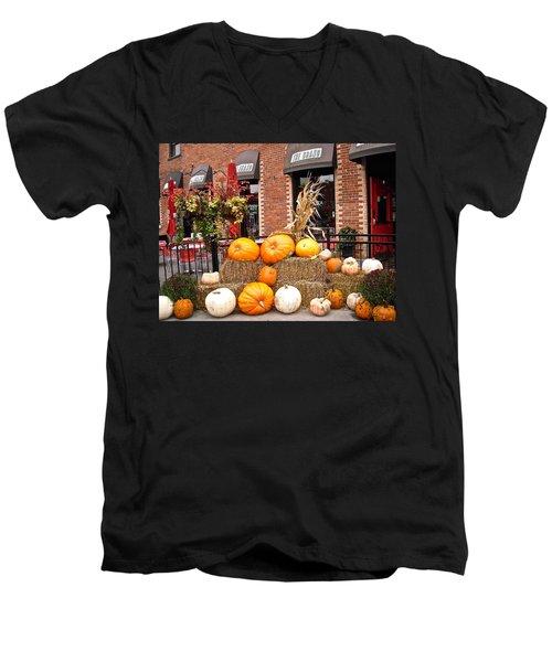 Pumpkin Display Men's V-Neck T-Shirt by Stephanie Moore