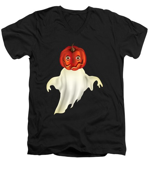 Pumpkin Headed Ghost Graphic Men's V-Neck T-Shirt by MM Anderson