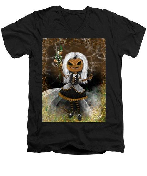 Pumpkin Spice Latte Monster Fantasy Art Men's V-Neck T-Shirt