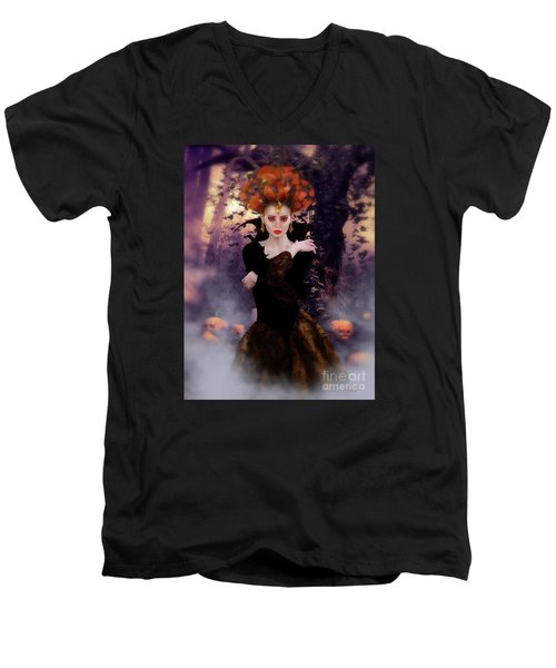 Men's V-Neck T-Shirt featuring the digital art Pumpkin Witch by Shanina Conway