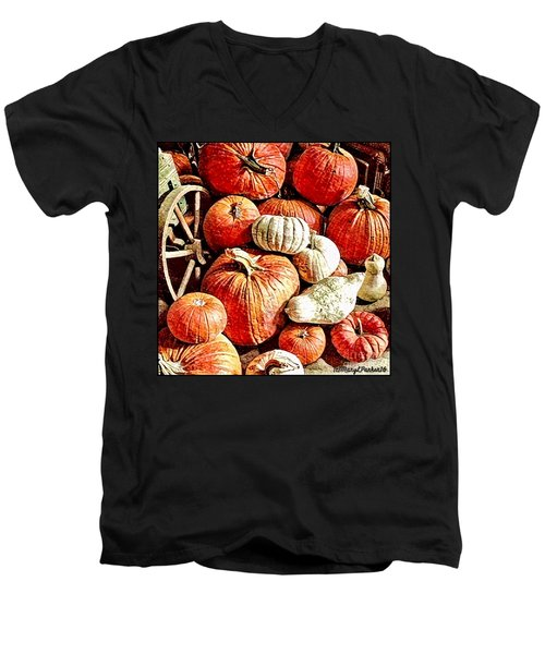 Pumpkins In The Barn Men's V-Neck T-Shirt by MaryLee Parker
