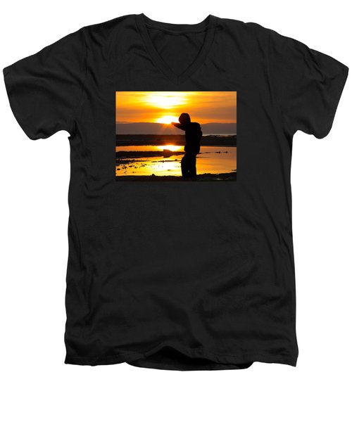 Men's V-Neck T-Shirt featuring the photograph Punching The Sun by RKAB Works