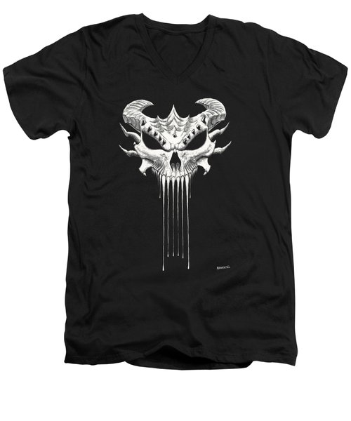 Dragon Skull T-shirt Men's V-Neck T-Shirt by Stanley Morrison