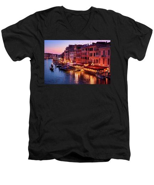 Cityscape From The Rialto In Venice, Italy Men's V-Neck T-Shirt