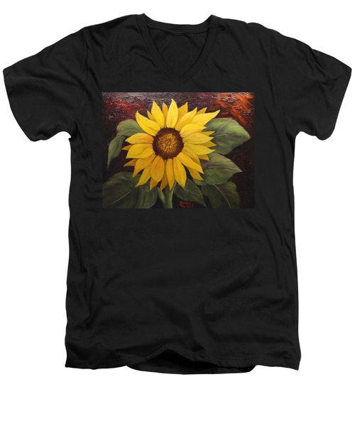 Men's V-Neck T-Shirt featuring the painting Pure Sunshine  Sold by Susan Dehlinger