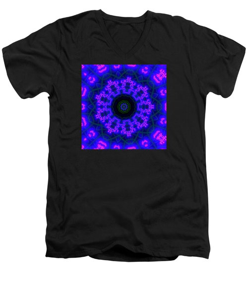 Men's V-Neck T-Shirt featuring the digital art Purple 9 Lightmandala by Robert Thalmeier