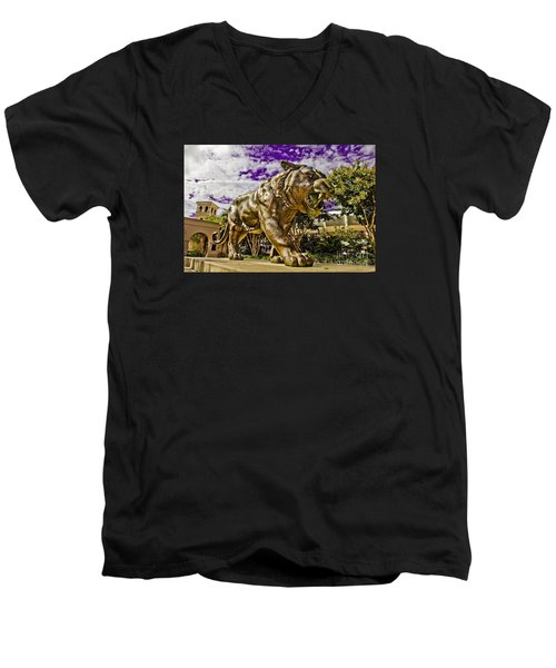 Purple And Gold Men's V-Neck T-Shirt