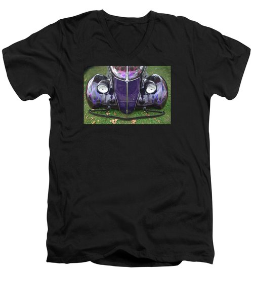 Purple Antique Ford Men's V-Neck T-Shirt by Kathy M Krause