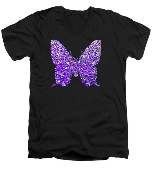 Purple Butterfly  Men's V-Neck T-Shirt